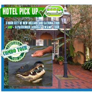 3 hour City of New Orleans and Katrina Tour plus 6 passenger Airboat Swamp Tour