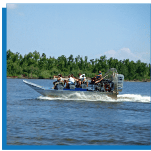 New Orleans Airboat Tour 16 Passenger airboat Meet at the Dock