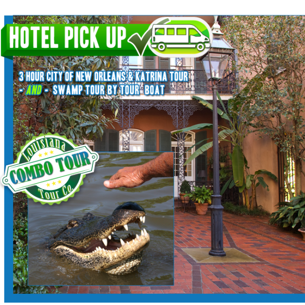 3 hour City of New Orleans and Katrina Tour AND Swamp Tour by Tour Boat